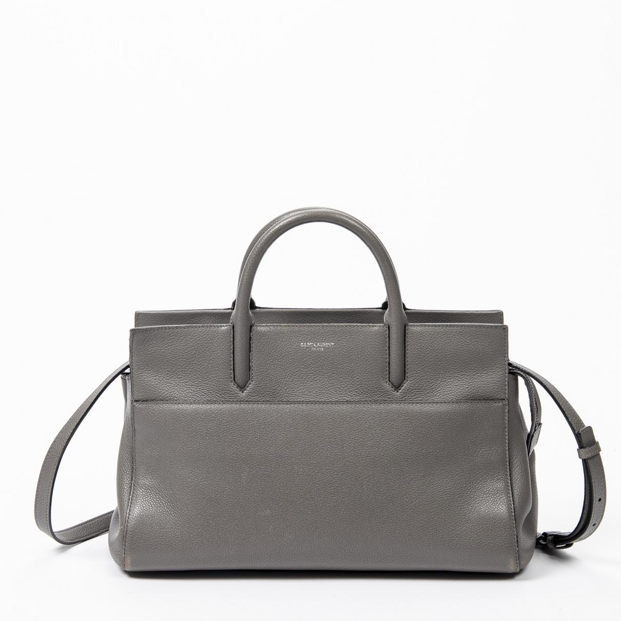 Yves Saint Laurent - Sac a main   pour femme en cuir - gris