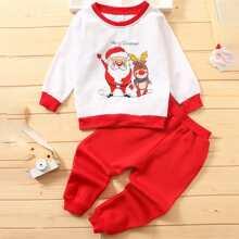 Sweatshirt mit Weihnachten Muster & Jogginghose Set