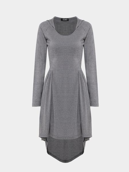 Yoins Grey Hoodie Dress In Jersey