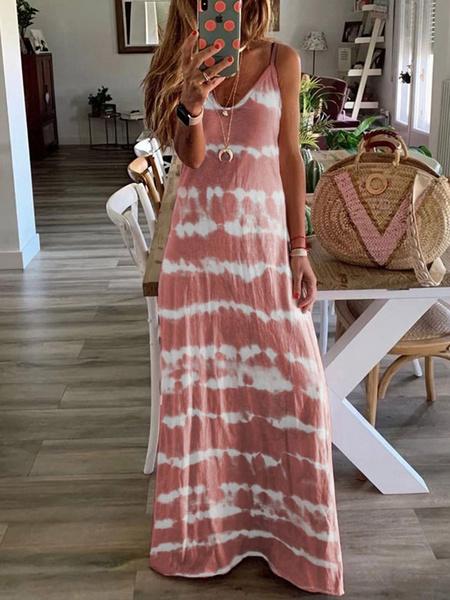 Milanoo Tie Dye Maxi Dress Sleeveless Long Summer Dress