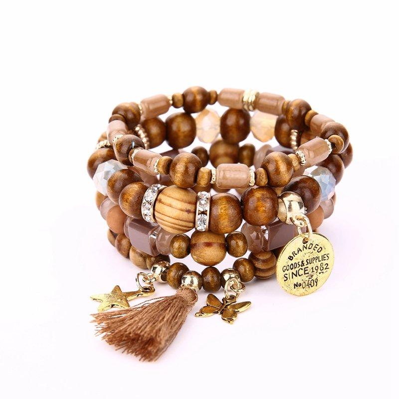 Retro Star Butterfly Charm Bracelet Tassel Wooden Beaded Bracelets Multilayer Accessories for Women