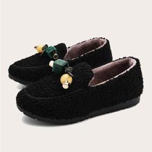 Beaded Decor Slip On Fluffy Loafers