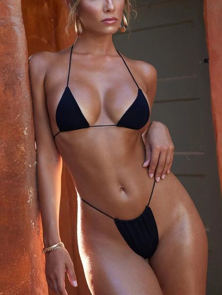 Yoins Self-tie Design Halter Bikini Set