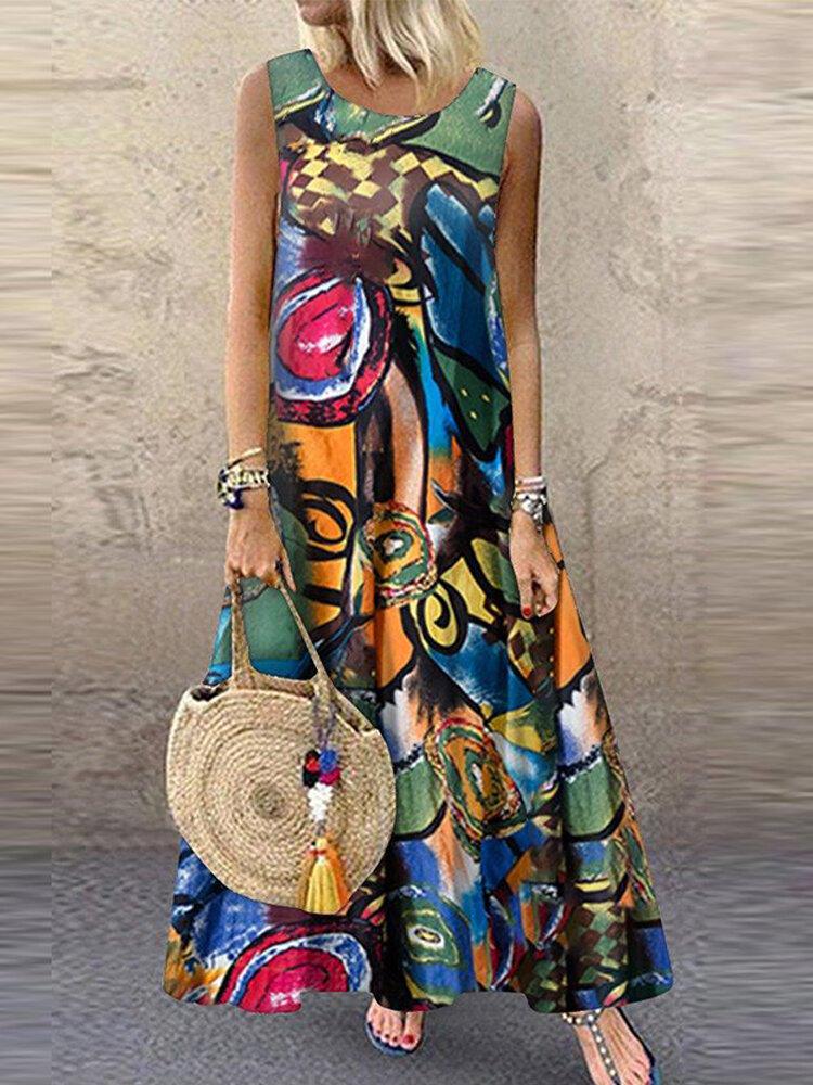 Print Sleeveless Plus Size Casual Dress for Women