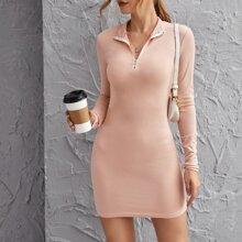 Reissverschluss  Einfarbig Elegant Kleider