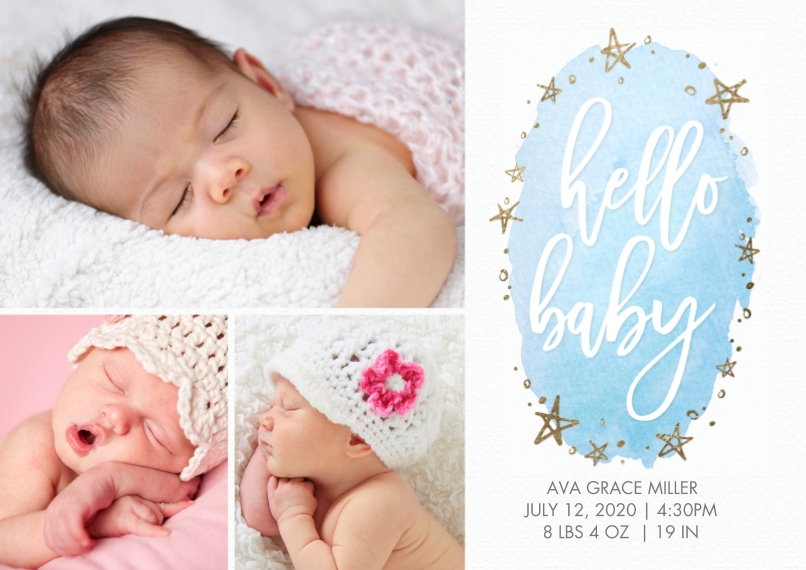 Baby Announcements 5x7 Cards, Premium Cardstock 120lb with Scalloped Corners, Card & Stationery -Baby Watercolor Stars Sparkle by Tumbalina