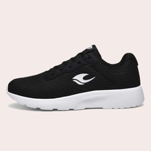 Men Lace-up Front Geometric Graphic Low Top Sneakers