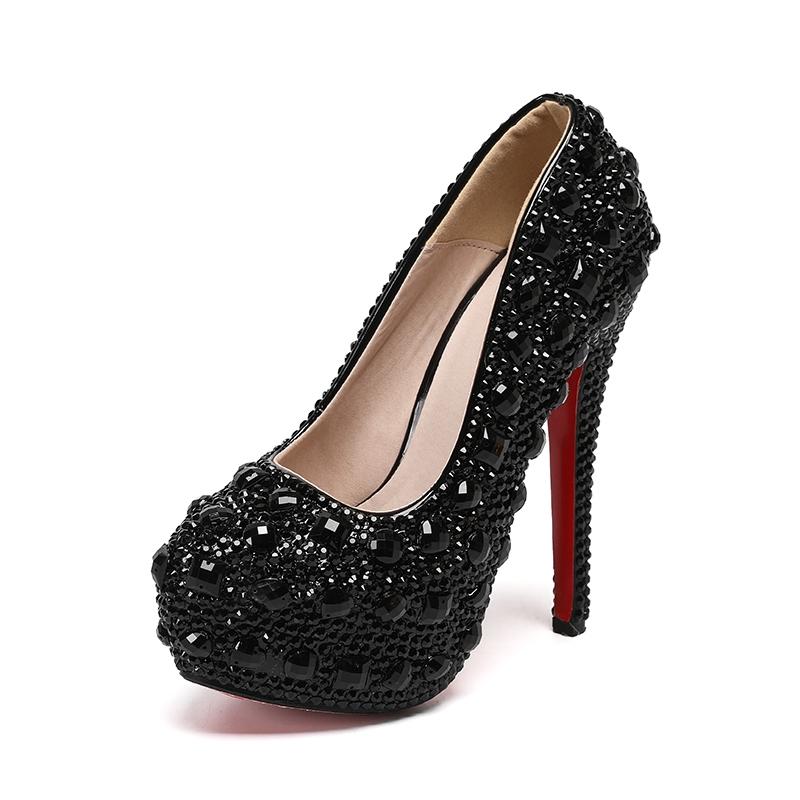 Ericdress Rhinestone Stiletto Heel Round Toe 14cm Thin Shoes