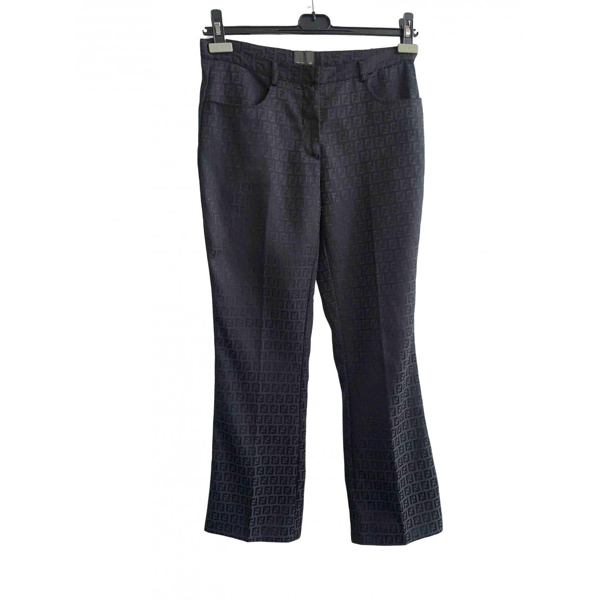 Fendi \N Black Cotton Trousers for Women 36 FR