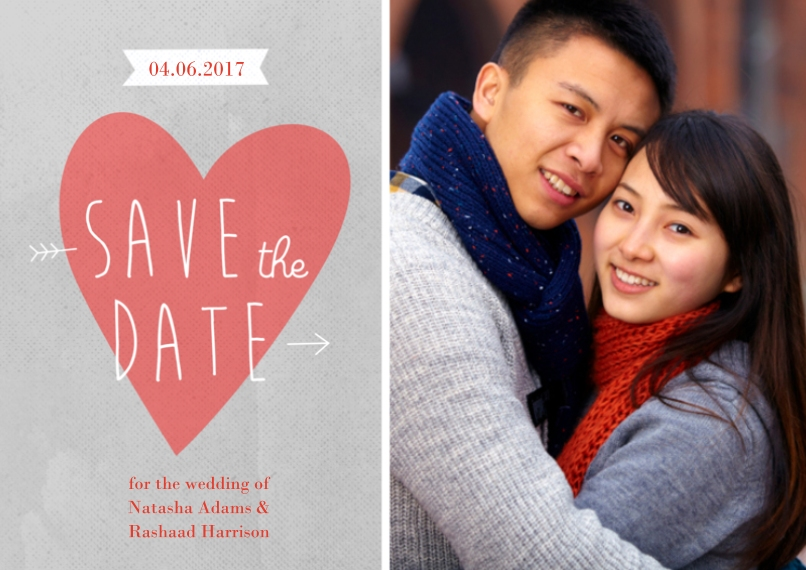 Save the Date 5x7 Cards, Premium Cardstock 120lb with Rounded Corners, Card & Stationery -Save the Date Heart