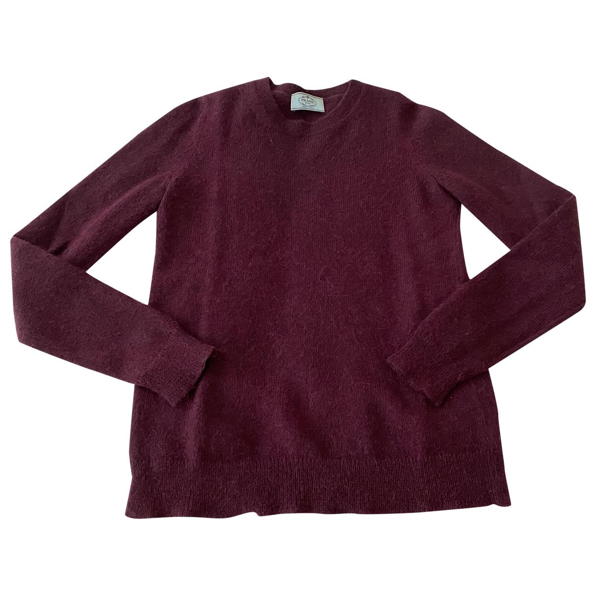 Prada - Pull   pour femme en laine - bordeaux