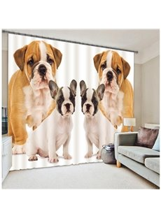 3D Lovely Dogs Printed Thick Polyester Decorative and Blackout Room Curtain