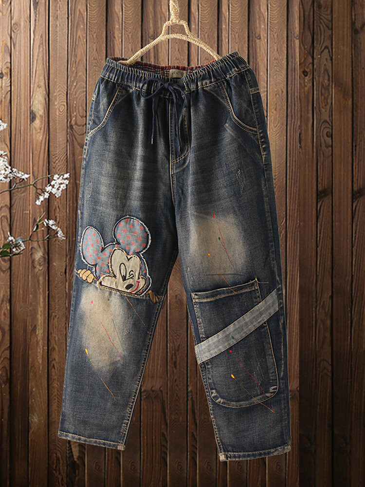 Cartoon Embroidery Elastic Wasit Patchwork Pocket Demin Jeans For Women