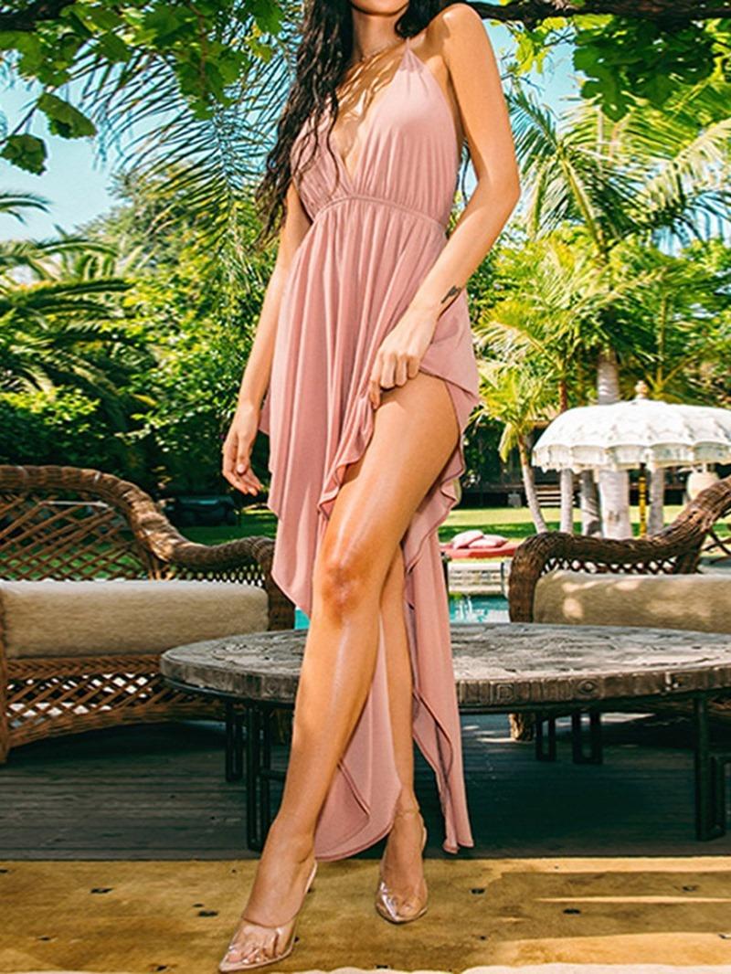 Ericdress Asymmetric Sleeveless V-Neck Sexy Backless Dress