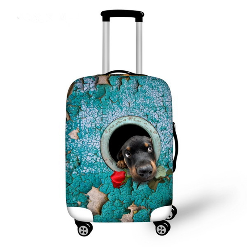 Creative Dog with Rose Pattern 3D Painted Luggage Cover