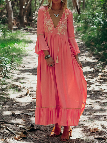 Milanoo Boho Dress V Neck Floral Print Dress