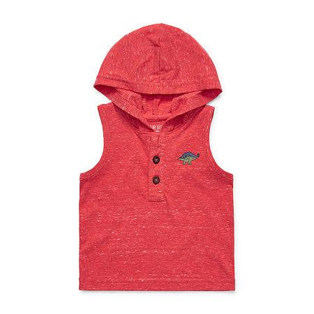 Okie Dokie Baby Boys Hooded Neck Sleeveless Muscle T-Shirt, 3 Months , Orange