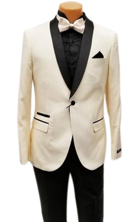 Mens One Button Shawl Lapel Ivory Prom Wedding Tuxedo