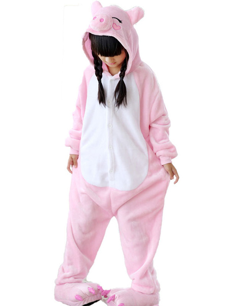 Milanoo Kigurumi Pajamas Onesie Pig Kids Pink Flannel With Footwear Winter Sleepwear Mascot Animal Halloween Costume