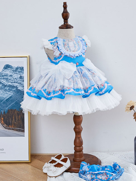 Milanoo Kids Lolita Dress Blue Bows Frills Tutu Dress