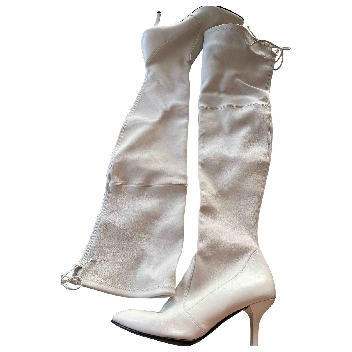 Stuart Weitzman \N Ecru Leather Boots for Women 9.5 US
