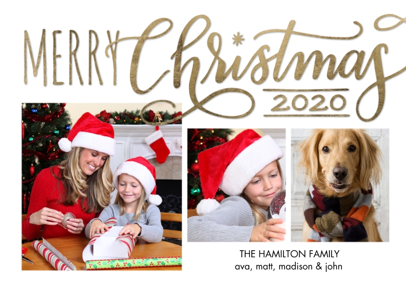 Christmas Photo Cards 5x7 Cards, Premium Cardstock 120lb with Scalloped Corners, Card & Stationery -Christmas 2020 Red Merry Memories by Tumbalina