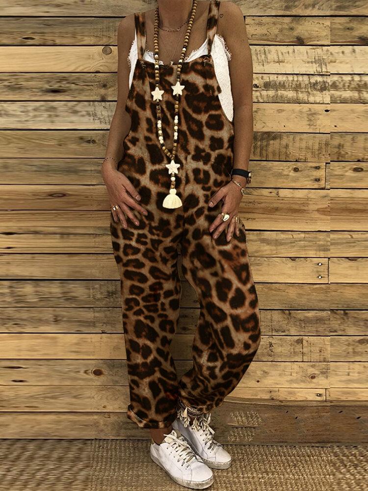 Leopard Print Adjustable Straps Plus Size Jumpsuit for Women