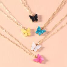 5 Stuecke Halskette mit Schmetterling Anhaenger