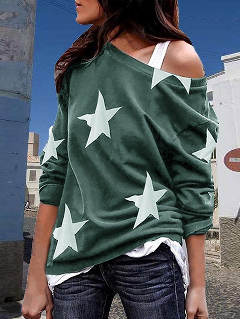 Ericdress Star Oblique Collar Standard Loose Casual T-Shirt