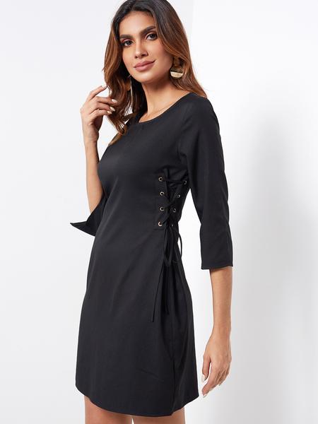 Yoins Black Lace-up Design Plain Round Neck Silt at Cuffs Dresses