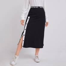 Slogan Tape Waist Snap Buttoned Side Skirt