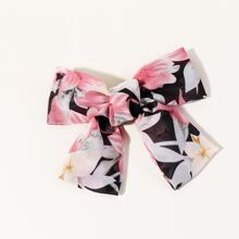 Floral Pattern Bow Knot Decor Hair Clip