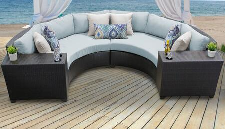 Barbados BARBADOS-04c-SPA 4-Piece Wicker Patio Set 04c with 2 Cup Tables and 2 Curved Armless Sofas - Wheat and Spa