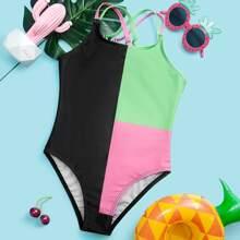 Einteiliger Badeanzug mit Farbblock und Kreuzgurt