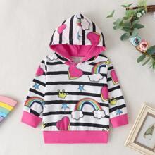 Toddler Girls Rainbow And Stripe Print Hooded Sweatshirt