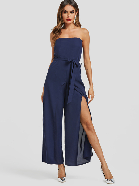 Yoins Navy Strapless Belt Design Slit Hem Jumpsuit