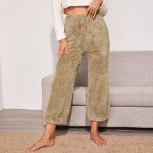 Pantalones de casa unicolor de cintura elastica