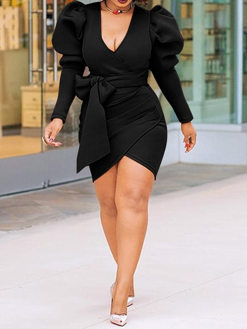 Ericdress Bodycon Above Knee Asymmetric Mid Waist Pullover Dress