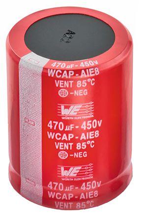 Wurth Elektronik 390μF Electrolytic Capacitor 450V dc, Through Hole - 861221485018