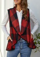 Buffalo Plaid Pocket Asymmetric Lapel Vest Cardigan - Red