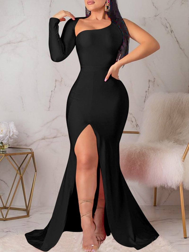 Ericdress Long Sleeve Split Oblique Collar Mid Waist Pullover Dress
