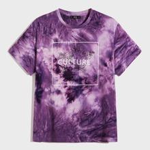 Camiseta de hombres de tie dye con estampado floral con letra