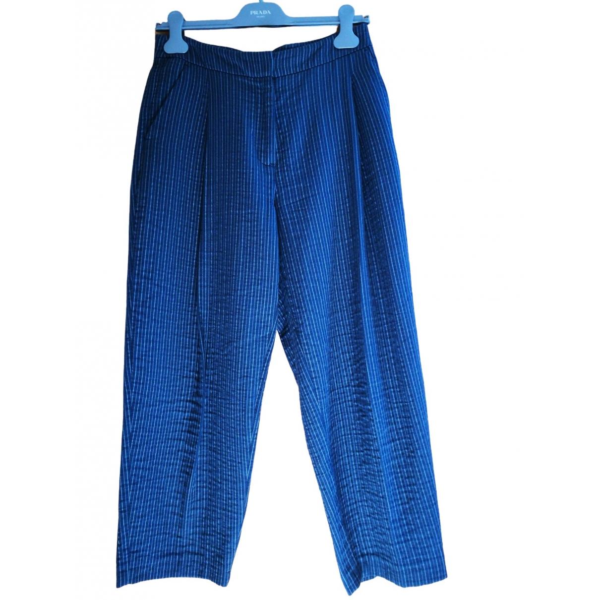 Stefanel - Pantalon   pour femme en coton - bleu