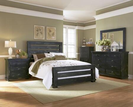 Willow P612-SKDMCN 5-Piece Bedroom Set with Slat King Bed  Dresser  Mirror  Chest and Nightstand in Distressed