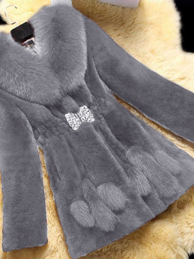 Ericdress Plain Mid-Length Lapel Winter Slim Faux Fur Overcoat