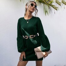Drop Shoulder Sweater Dress Without Belt