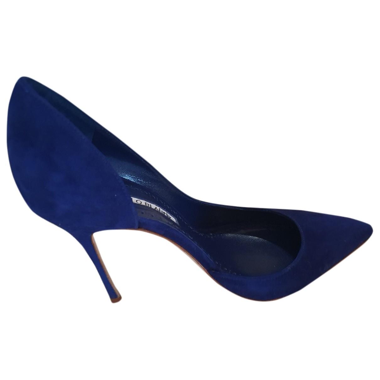 Manolo Blahnik - Escarpins   pour femme en suede - bleu