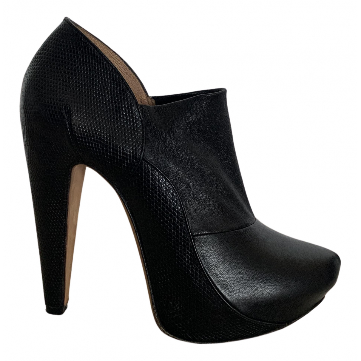 Roland Mouret N Black Leather Ankle boots for Women 38.5 EU