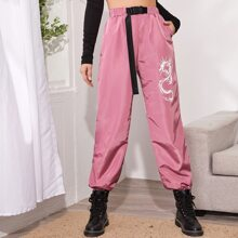 Chinese Dragon Graphic Push Buckle Belted Wind Joggers