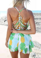 Pineapple Ruffled Hollow Out Romper - Light Green
